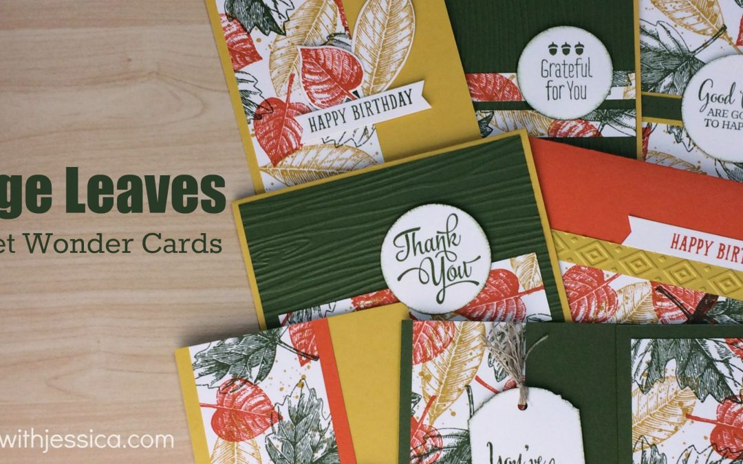 One Sheet of Stamped Paper. 8 Vintage Leaves Cards.