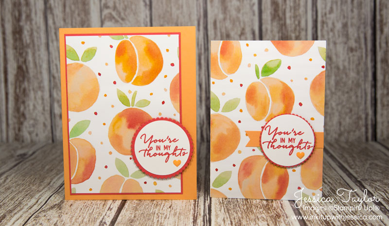 Peach Cards with Fruit Stand Paper from Stampin' Up!