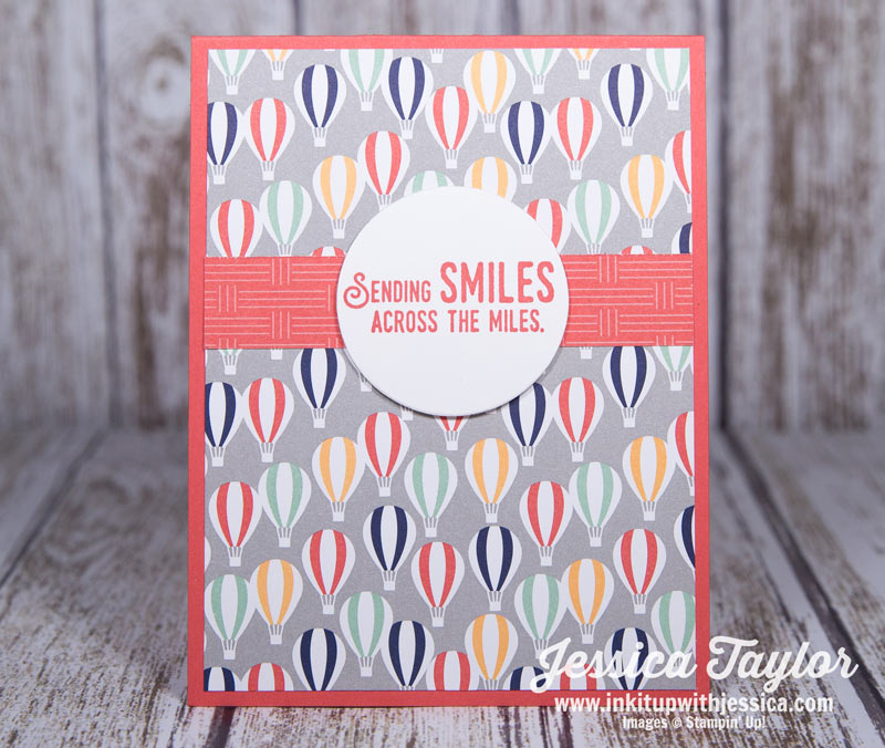 Sending Smiles Card with Lift Me Up stamp set & Carried Away Designer Series Paper from Stampin' Up!