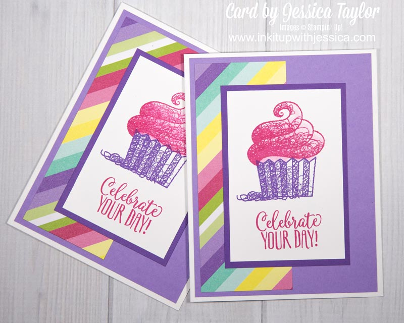 Hello Cupcake Cards Rainbow Stripe