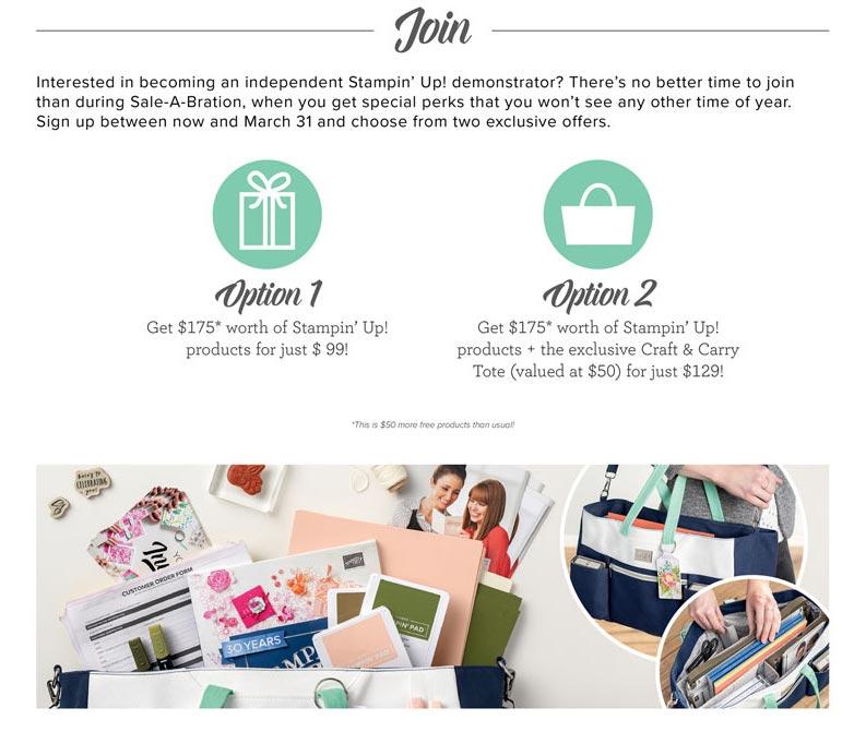 Sale-A-Bration Stampin' Up! Starter Kit Options
